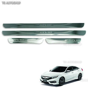 Stainless Scuff Plate Sill Guards For Honda Civic Sedan FK 4Door 2016 17 18