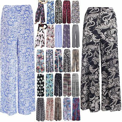 Womens Printed Flared Ladies Wide Leg Parallel Trousers Pants Palazzo Leggings To Produce An Effect Toward Clear Vision Clothing, Shoes & Accessories Leggings