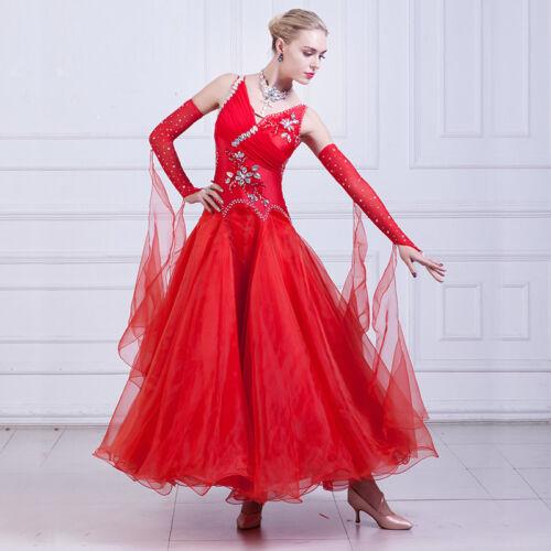 Latin Ballroom Dance Dress Modern Salsa Waltz Standard Long Dress#NN094 2 Colors