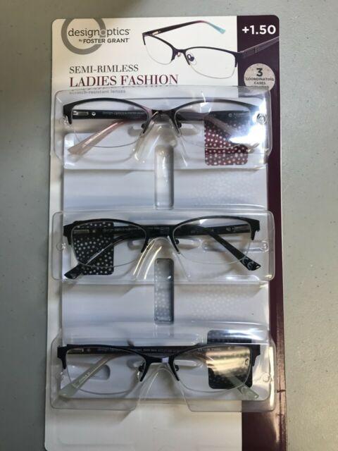 58c3b619e432 Foster Grant +1.50 Semi-Rimless Ladies 3 pack w case Design Optics Glasses