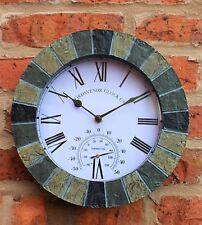 """Wall Clock Outdoor indoor Garden Thermometer Meter 10""""  Slate effect"""