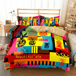 Color-Pineapple-Single-Double-Queen-King-Bed-Quilt-Doona-Duvet-Cover-Set