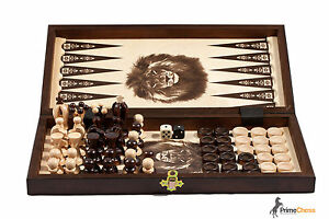 THE-KINGDOM-Wooden-Chess-Backgammon-Draughts-Set-35cm-STUNNING-HAND-CRAFTED