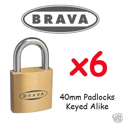 6 PIN Brava BULK LOT SET x6 Locks KEYED ALIKE !!!! Oval cylinder