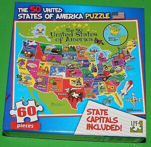 50 united states of america kids puzzle with state capitals included 60 pc