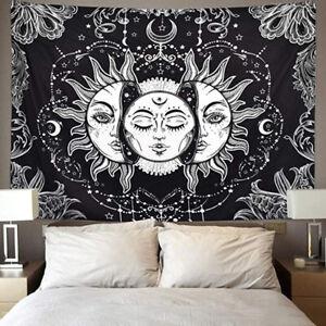 Tarot-Psychedelic-Tapestry-Wall-Hanging-Sun-Moon-Blanket-Bedspread-Room-Decor
