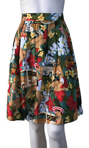 GRACE-KARIN-SIZE-8-PLEATED-50-S-STYLE-PRINTED-SKIRT-NEW