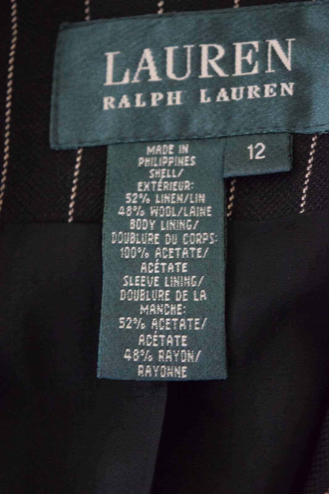 Ralph Lauren Womens Wool linen Black Striped Care… - image 5
