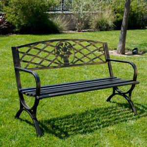 Strange Details About Outdoor Bench Patio Chair Metal Garden Furniture Deck Backyard Park Porch Seat Machost Co Dining Chair Design Ideas Machostcouk