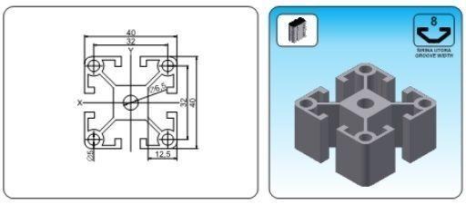 T Slot Aluminum Profile 40x40 Serial 8 900mm Profil Extrusion Extruded 4040