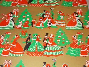 VTG CHRISTMAS WRAPPING PAPER GIFT WRAP NOS POINSETTIAS ON GREEN