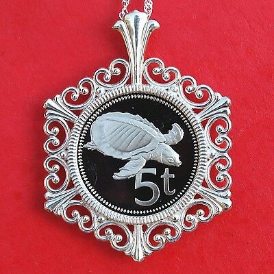 1975 Papua New Guinea 5 Toea Proof Coin 925 Sterling Silver Necklace - Turtle