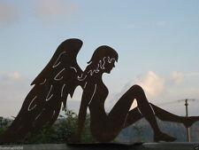 Edelrost Engel auf Platte klein Dekoration Weihnachten Advent Terrasse Garten