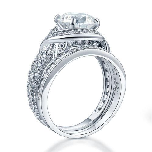 925 Sterling Silver Wedding Anniversary Ring Set Vintage Created Diamond FR8239