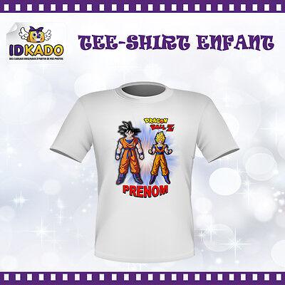TEE SHIRT DRAGON BALL Z  Personnalisé t shirt  tshirt BLANC Avec Prénom