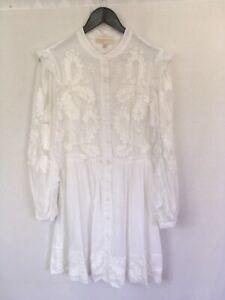 NEW-MICHAEL-KORS-Size-Medium-White-Floral-Embellished-Shirt-Dress-Long-Sleeve