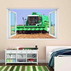 Combine Harvester Farm Crops Field 3D Wall Sticker Mural Decal Kids Room CR11