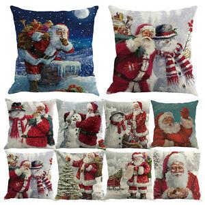 Christmas-Santa-Snowman-Printed-Pillow-Cushion-Cover-Case-Home-Sofa-Party-Decor
