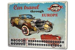 Calendario-perpetuo-Garage-Diseno-coche-viajes-Europa-Metal-Imantado