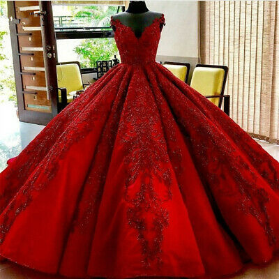 Red Beaded V Neck Wedding Dresses Lace Applique Saudi Arabic Puffy