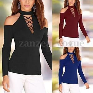 AU8-24-Women-Off-Shoulder-Lace-up-Tops-Choker-Neck-Long-Sleeve-Slim-Shirt-Blouse