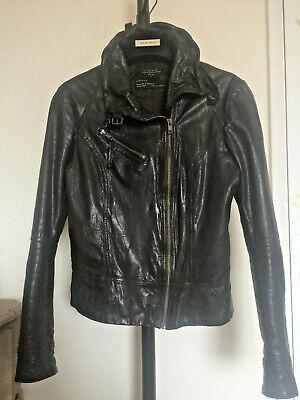All Saints Brown Belvedere Aged Leather Slim Fit Biker Jacket UK 10 38 6