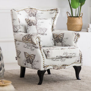 Details About Butterfly Graffiti Fabric High Wing Back Chair Vintage Armchair Fireside Sofa Uk