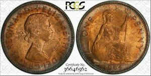 1964-GREAT-BRITAIN-ONE-PENNY-BU-PCGS-MS64RB-COLOR-TONED-ONLY-2-GRADED-HIGHER