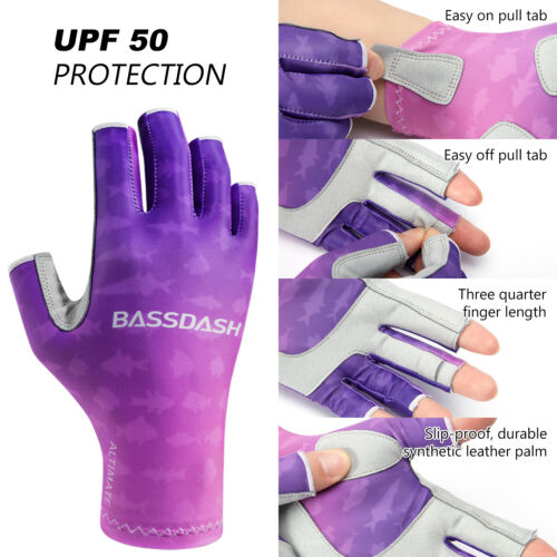 Bassdash UPF50 Sun protection Fingerless Non-slip gloves Fishing Cycling Mitten