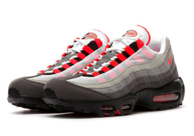 Nike Air Max 95 WhiteSolar Red Neutral Grey Men's Running Shoes 609048 106