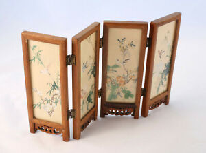 Vintage-4-Panel-Chinese-Silk-Screen-Painting-Double-Sided-Women-and-Birds-Wood