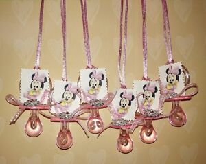 Baby Minnie Mouse Pacifier favor Baby shower birthday favors 12pcs keepsake girl