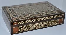 Handcrafted Luxury Inlaid Mother of Pearl Mosaic Wood Jewelry Hinged Cigar