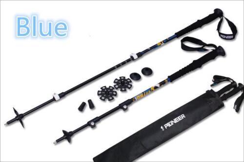 2pcs Trekking Pole External Lock Hiking Stick Carbon Fiber Aluminum Walking Cane