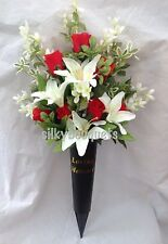 Artificial Silk Flower Grave Spike Arrangement Vase Tribute Memorial Crem Rose