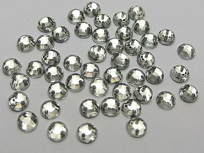 1000 Clear Flatback Acrylic Sewing Round Rhinestone Gems Sew on beads 5mm