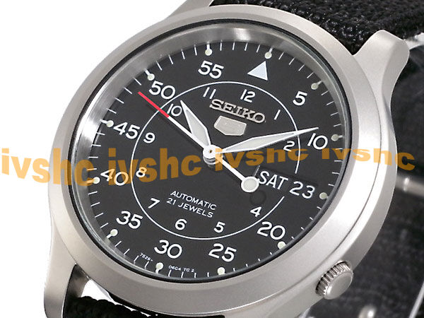SEIKO 5 SNK809 SNK809K2 Army Automatic Nylon Free Ship Black !