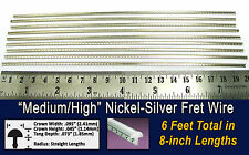 6 feet of Medium/High Nickel-Silver Fret Wire/Frets for Guitar & More!