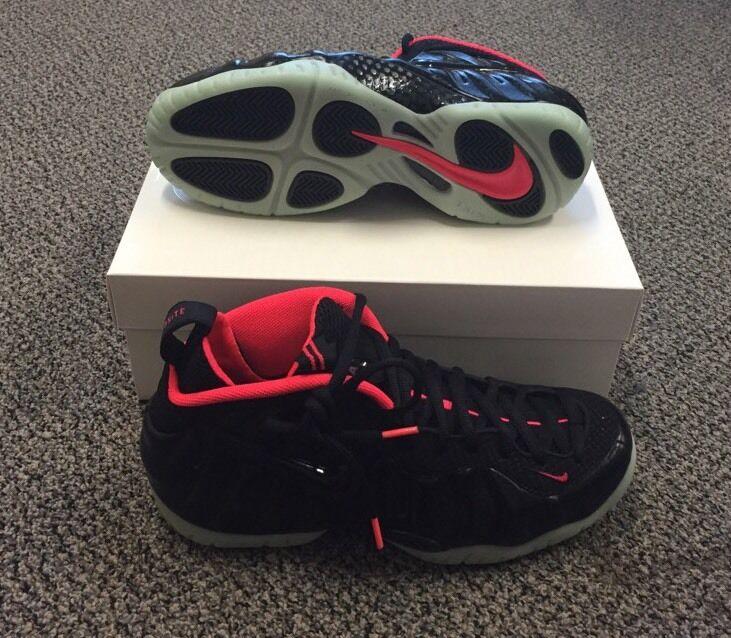 Nike AIR FOAMPOSITE PRO YEEZY Size 10 BLACK LASER CRIMSON 616750-001