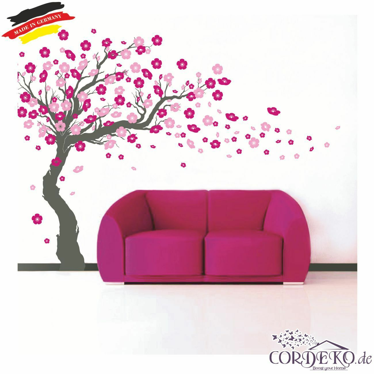 wandtattoo baum 250 kirschbl ten 3 farben tattoo blumen wohnzimmer b ro ebay. Black Bedroom Furniture Sets. Home Design Ideas