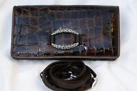 Authentic Brighton Cher Brown Patent Leather Large Wallet Clutch Cross Body