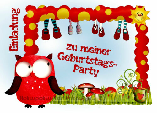 8 Einladungskarten Mädchen Eule Geburtstag Kinder Kindergeburtstag Einladungen