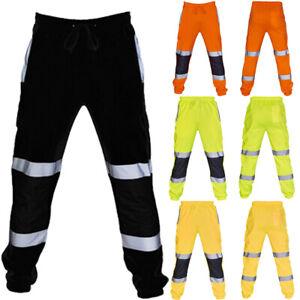 Hi-Vis-Viz-Visibility-Jogging-Bottoms-Joggers-Sweat-Pants-Safety-Trousers-S-3XL
