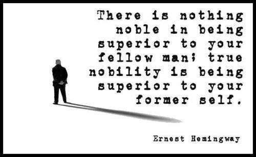 Men/'s Ladies T SHIRT cool Hemingway quote Noble man foster self improvement