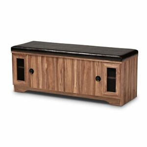 Admirable Details About Baxton Studio Valina Brown Faux Leather 2 Door Wood Shoe Storage Bench Ocoug Best Dining Table And Chair Ideas Images Ocougorg