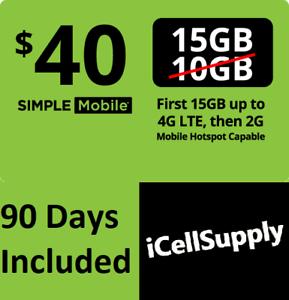 Preloaded Simple Mobile Sim Card 3 40 Plan Text Talk 15gb Data 90 Days 3 Months Ebay