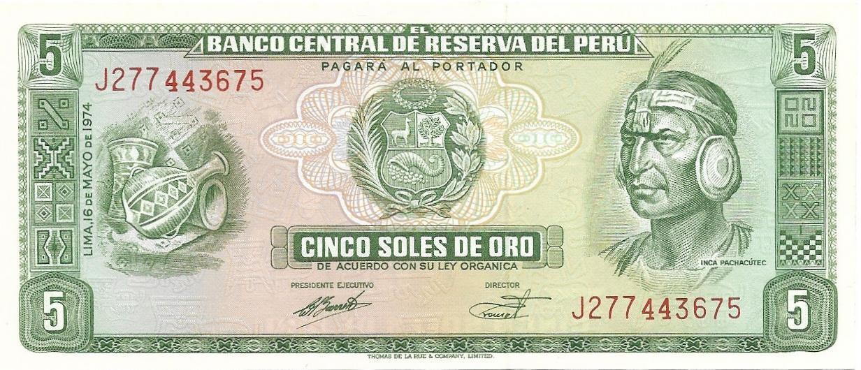 Inca Chief//Fort//p99b UNC Peru 5 Soles de Oro 4.5.1972