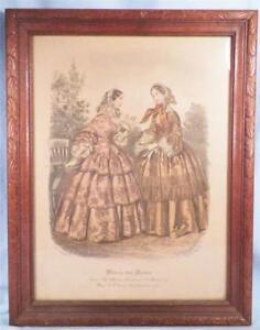 Antique-Fashion-Print-Miroir-des-Modes-Post-Civil-War-Era-Ladies-Lithograph-Nice