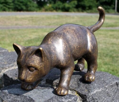Bronzeskulptur kleine laufende Katze Gartendekoration Dekorationsfigur