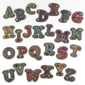 Rhinestone-A-Z-Alphabet-Letters-Patches-Applique-3D-Iron-On-Clothing-Badge